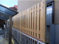 檜「ヒノキ」製の目隠しフェンス「手刻み、伝統的な貫工法」 U様邸